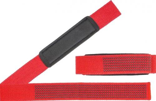 Лямки для тяги с силиконовыми вставками Be First (Красно-черный, 2 шт)