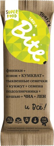 Батончик Bite Тонус (Кумкват-лимон, 45 гр)
