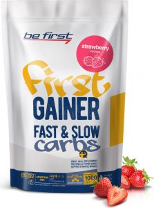 Гейнер First Gainer Fast & Slow Carbs (Клубника, 1000 гр)